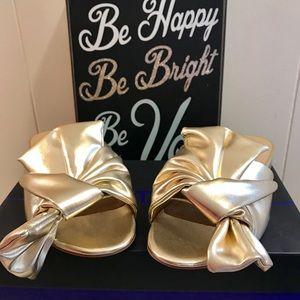 Gunmetal gold bow slide sandal Size 6